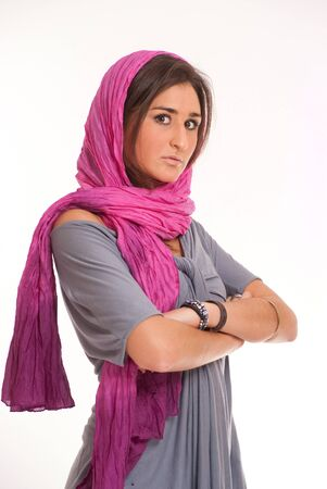 Pretty brunette with a pink silk headscarf  Stock Photo - 7336576