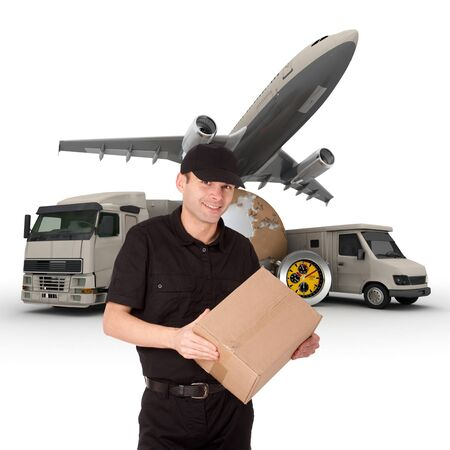 A messenger with a world map, packages, a chronometer,  a van, a truck and an airplane as background  photo