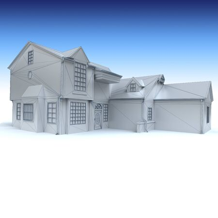 stately:  3D rendering of an architecture model in white  Stock Photo