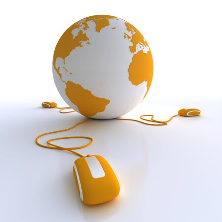 internet globe:  Orange and white Earth Globe connected with three computer mice.