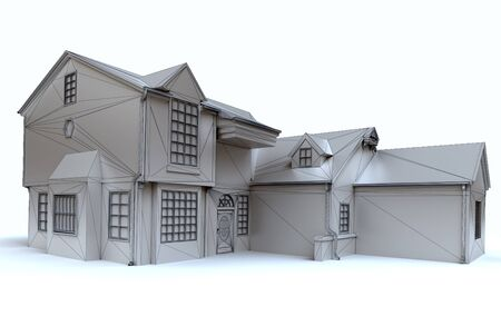 3D rendering of an architecture model in white Stock Photo - 7346009