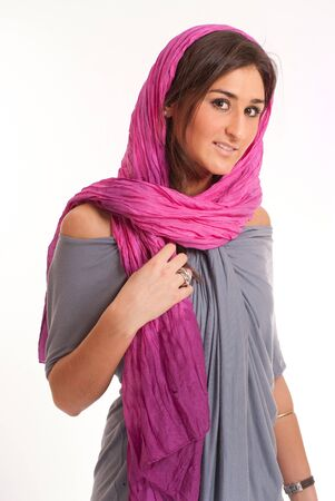 Pretty brunette with a pink silk headscarf Stock Photo - 7350657
