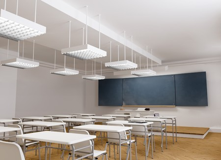 3D rendering of a classical school classroom photo