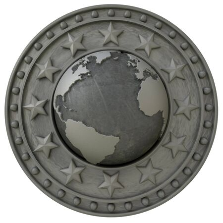 3D rendering of an insignia with the world surrounded by a metallic shield with stars photo