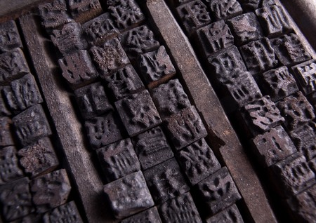 typescript: Collection of old Chinese wooden typescript letters Stock Photo