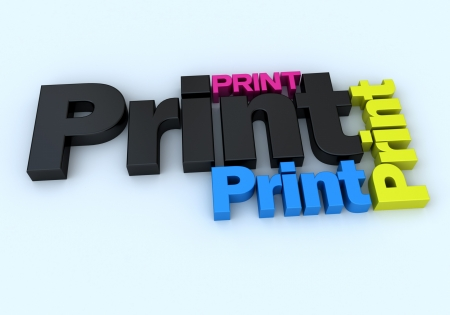 blue print:  3D rendering of the word print in different colors and sizes