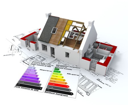 insulation: 3D rendering of a house in construction, on top of blueprints, with and energy efficiency rating chart