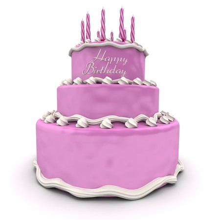 3D rendering of a big pink birthday cake photo