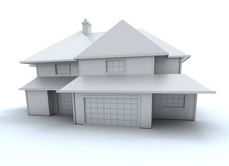 3D rendering of an architecture model in white photo