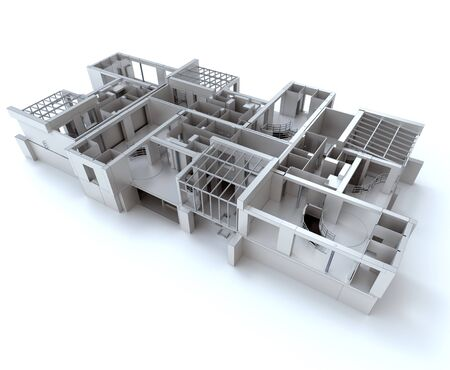 housing plan: 3D rendering of a designer house in white Stock Photo