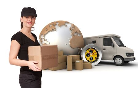 Female Messenger with a background composed of  a world map, packages, a chronometer and a van  Stock Photo - 8606860