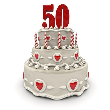50th:  3D rendering of a multi-tiered cake with a number fiftyon top