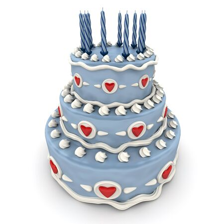 impressive:  3D rendering of  a impressive blue three floor cake with red hearts and candles