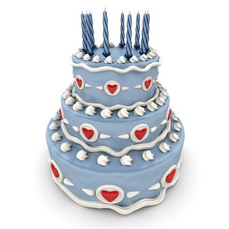 3D Rendering of ein beeindruckendes blau drei Fußböden-Kuchen mit roten Herzen und Kerzen  Lizenzfreie Bilder - 8603732