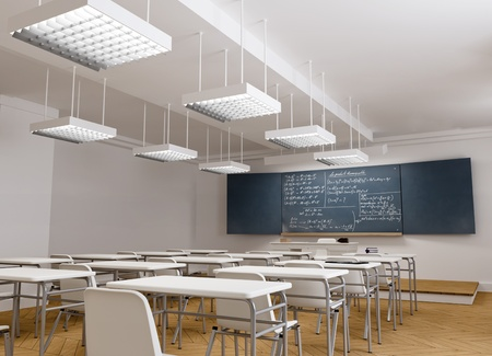formulae:  3D rendering of a classical school classroom with mathematic formulae in the blackboard