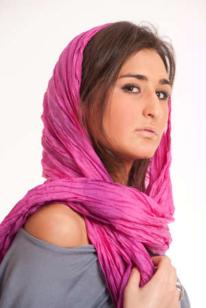Pretty brunette with a pink silk headscarf Stock Photo - 8606856