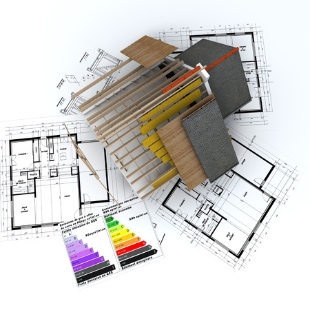 3D rendering of a house in construction, on top of blueprints, with and energy efficiency rating chart Stock Photo - 8605610