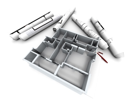 housing plan:  Architectural model of a designer�s house with rolled-up blueprints  Stock Photo