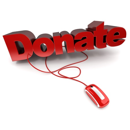 generosity:  3D rendering of the word donate in red connected to a computer mouse