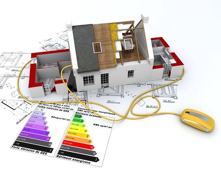 3D rendering of a house in construction, connected to a computer mouse, on top of blueprints, with and energy efficiency rating chart   Stock Photo - 8990350
