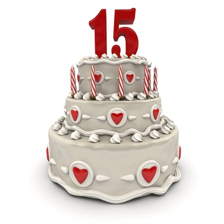 fifteen:  3D rendering of a multi-tiered cake with a number fifteen on top