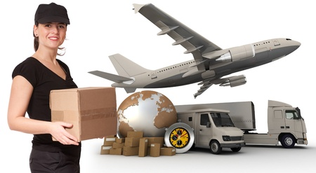 A female messenger holding a package with a world map, packages, a chronometer,  a van, a truck and an airplane as background  photo