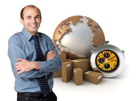 Happy businessman with a world map ,  packages and a chronometer on the background  photo