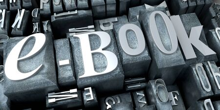 3D rendering of a background of print letter cases with the word e-book close-up  photo