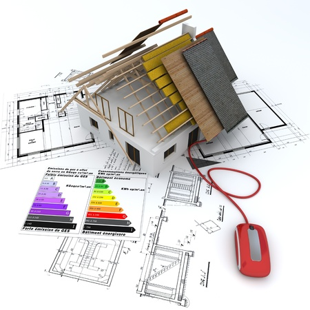 project planning:  3D rendering of a house in construction, connected to a computer mouse,  on top of blueprints, with and energy efficiency rating chart