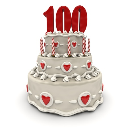 3D rendering of a multi-tiered cake with a number hundred on top  photo