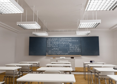 college classroom:  3D rendering of a classical school classroom with mathematic formulae in the blackboard