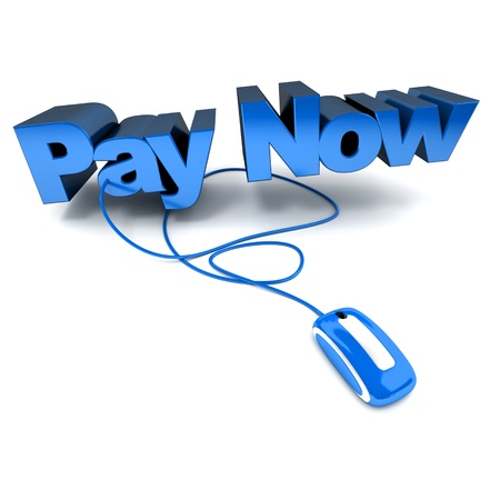 Word Pay Now, in blue connected to a computer mouse Stock Photo - 9521959