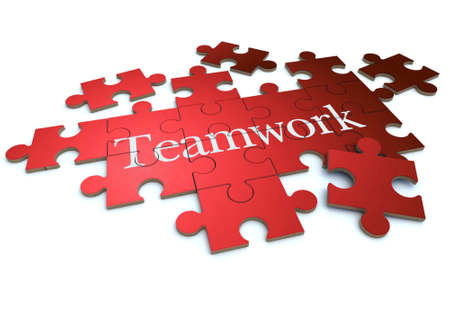 synergy:  3D rendering of a forming puzzle with the word teamwork