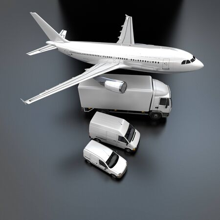 3D rendering of showing an aerial view of an airplane, a truck, a van and a lorry against a gray background  photo