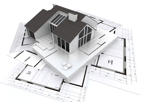 model home:  3D rendering of a residential architecture model on top of blueprints