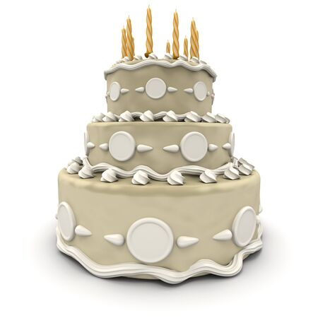 3D rendering of  a impressive wedding three floor cake in white and cream  photo
