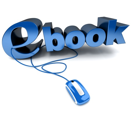 3D rendering of the word ebook connected to a computer mouse  photo