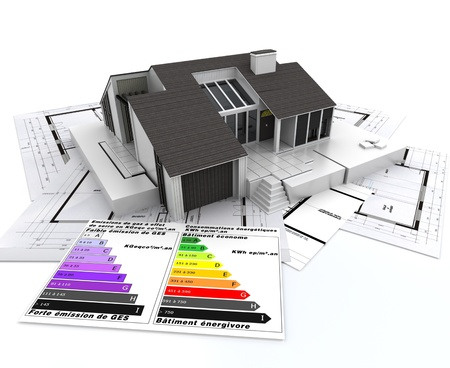 projects:  3D rendering of a house, on top of blueprints, with and energy efficiency rating chart  Stock Photo