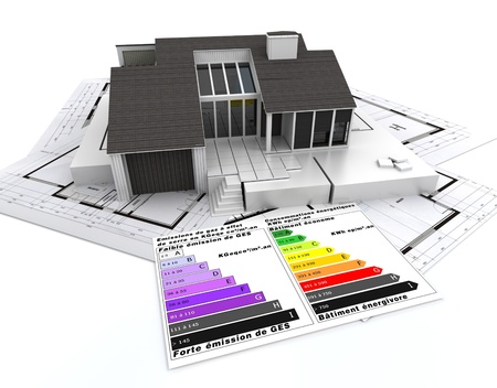 3D rendering of a house, on top of blueprints, with and energy efficiency rating chart Stock Photo - 9548887