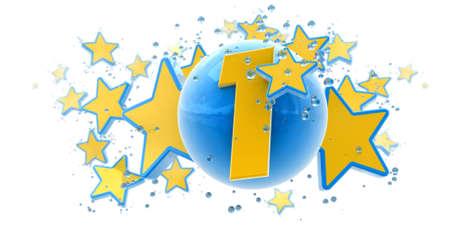 numero uno:   Fondo en colores azules y amarillos con gotas de estrellas y esferas y el n�mero uno