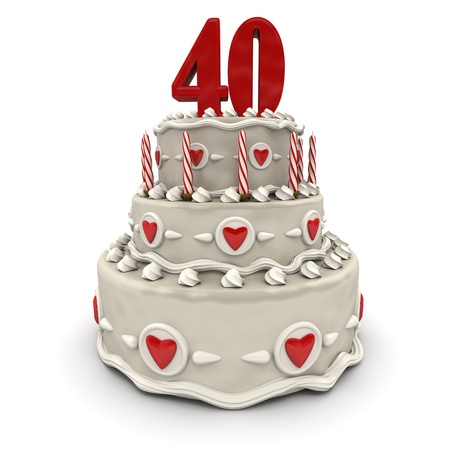 3D rendering of a multi-tiered cake with a number Forty on top  photo