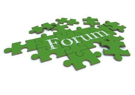 3D rendering of a forming puzzle with the word Forum  photo