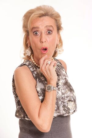 scandal:  Portrait of a shocked elegant senior lady