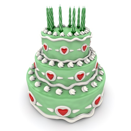 impressive:  3D rendering of  a impressive green three floor cake with red hearts and candles