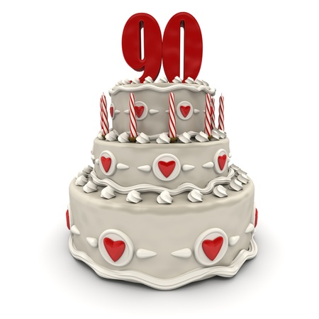 ninety:  3D rendering of a multi-tiered cake with a number Ninety on top