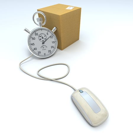 overnight delivery:  3D rendering of a closed cardboard box with a chronometer connected to a computer mouse
