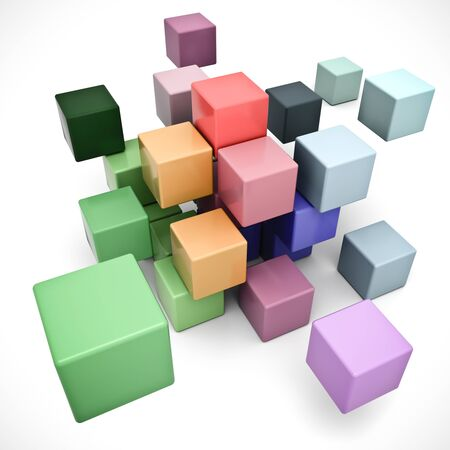 cubic:   3D rendering of a cubic background in different pastel colors  Stock Photo