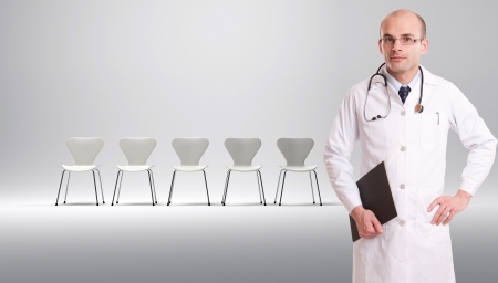 waiting room:  A doctor with a row of white chairs at the background
