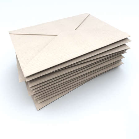 outgoing:  3D rendering of a pile of brown envelopes