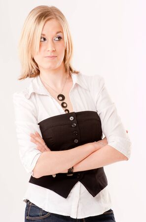 waistcoat:  Cute blonde girl looking with suspicion